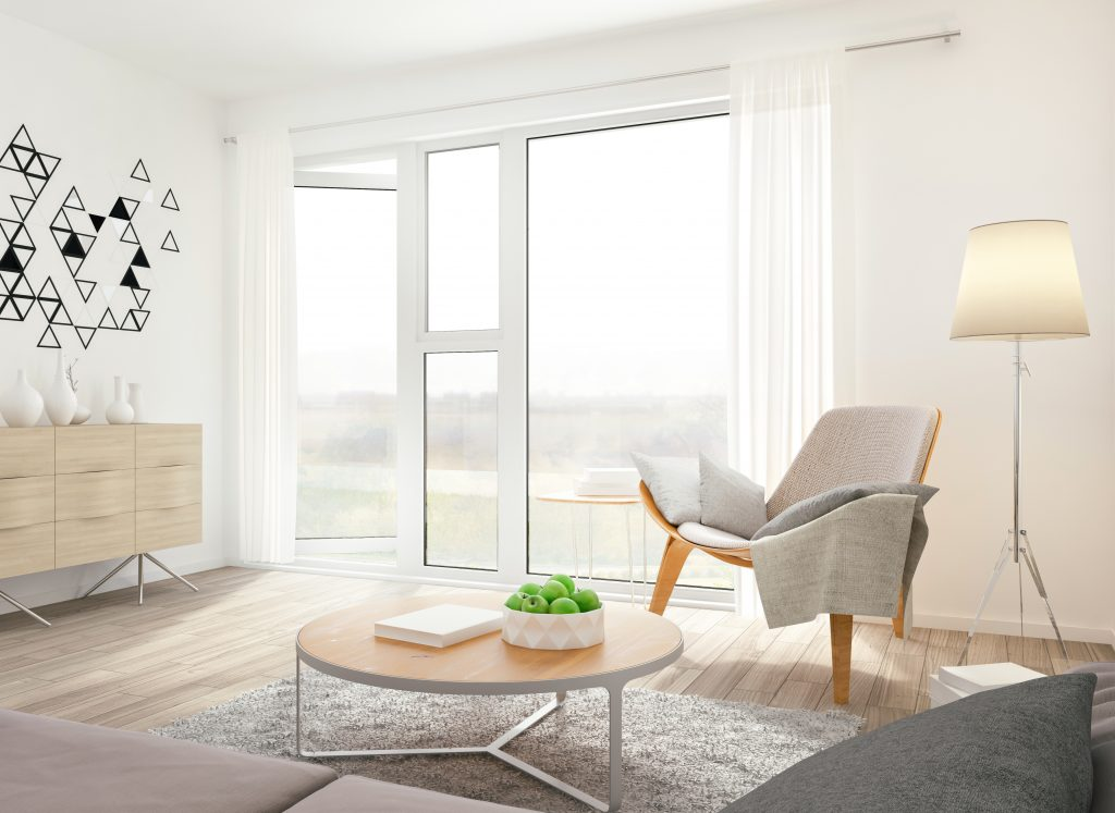 A shoot of minimalistic scandinavian-style modern room. Render image.